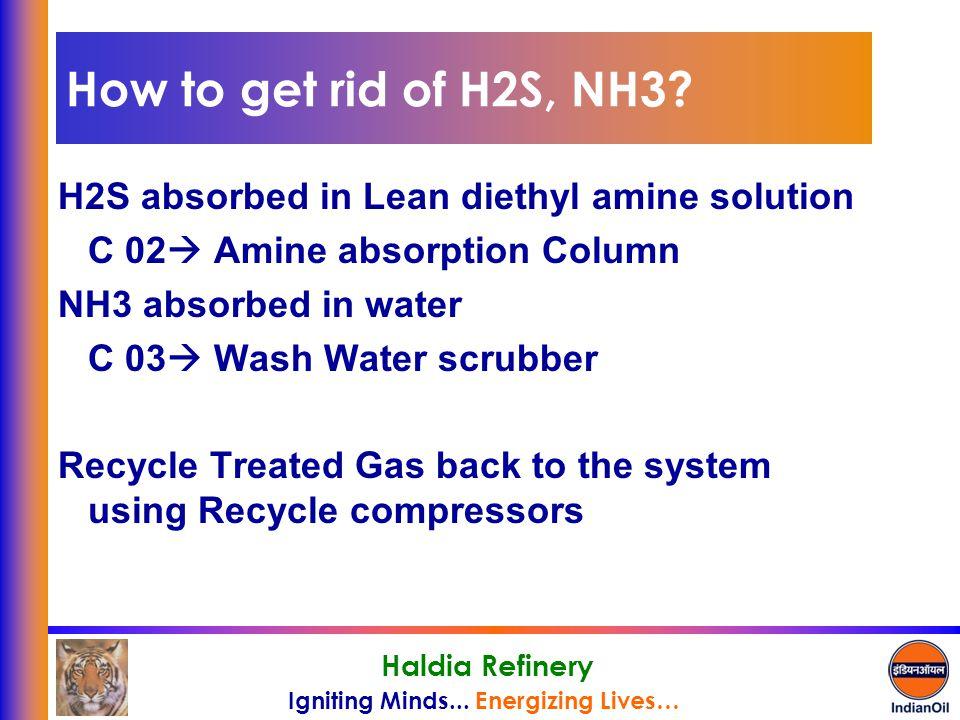 How to get rid of H2S, NH3 H2S absorbed in Lean diethyl amine solution. C 02 Amine absorption Column.