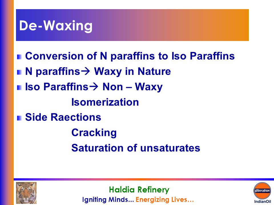 De-Waxing Conversion of N paraffins to Iso Paraffins