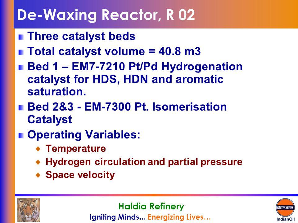 De-Waxing Reactor, R 02 Three catalyst beds