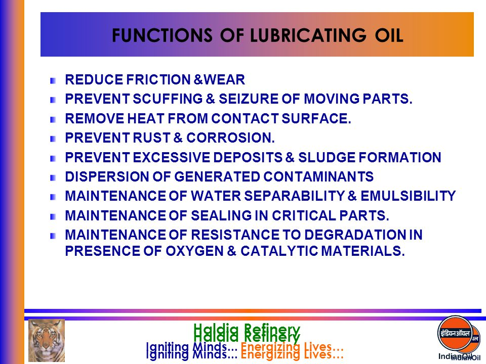 FUNCTIONS OF LUBRICATING OIL