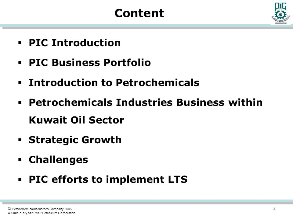 Content PIC Introduction PIC Business Portfolio