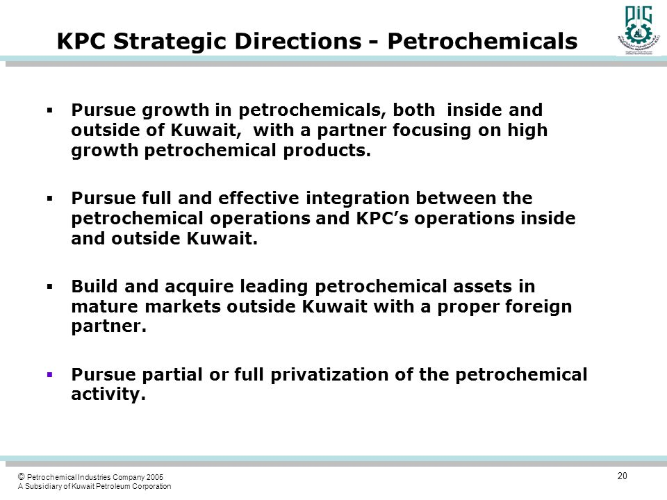 KPC Strategic Directions - Petrochemicals
