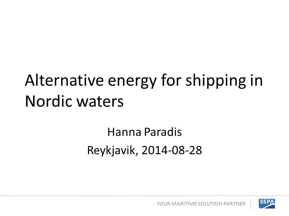 Alternative energy for shipping in Nordic waters