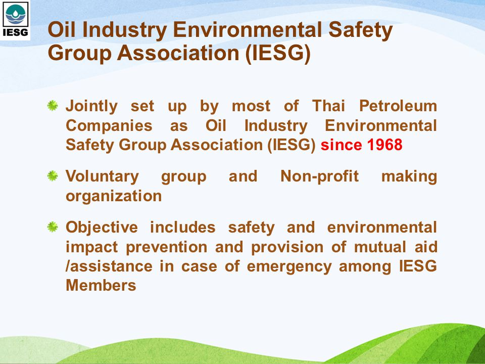 Oil Industry Environmental Safety Group Association (IESG)