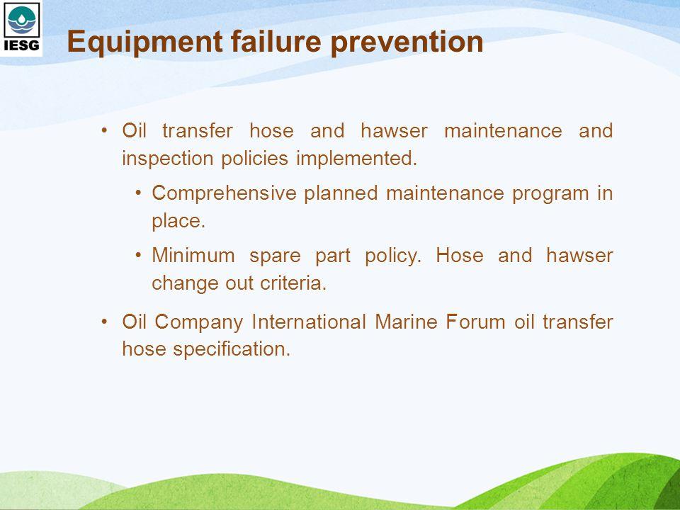 Equipment failure prevention