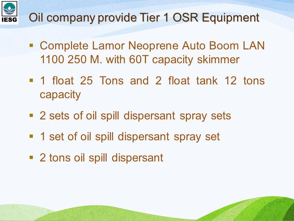 Oil company provide Tier 1 OSR Equipment