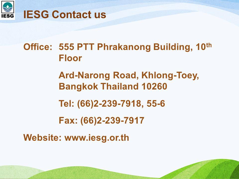 IESG Contact us Office: 555 PTT Phrakanong Building, 10th Floor