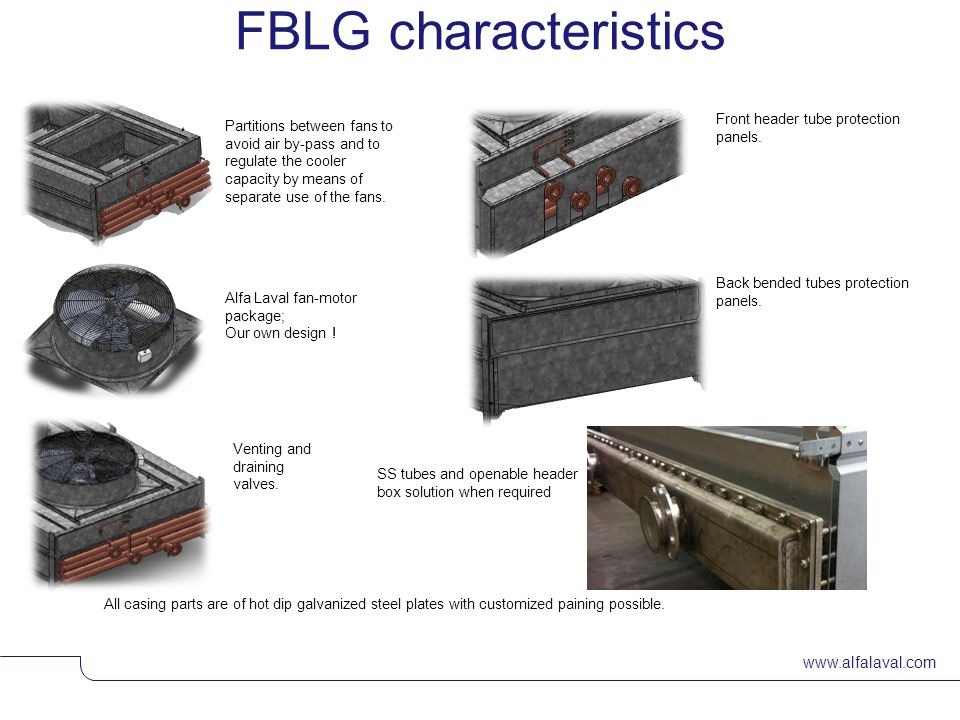 FBLG characteristics Front header tube protection panels.