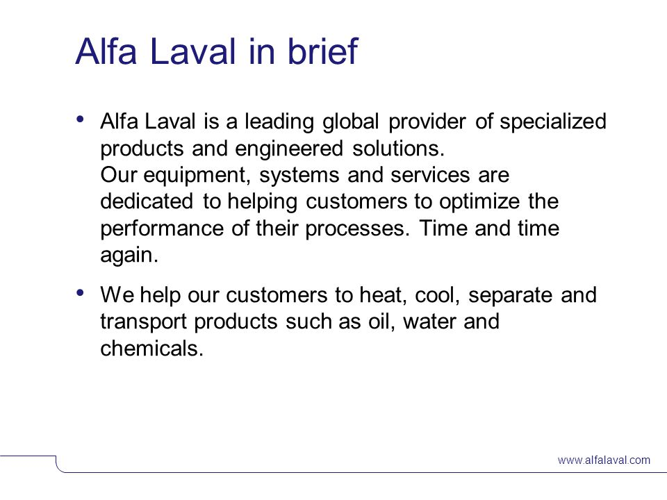 Alfa Laval in brief