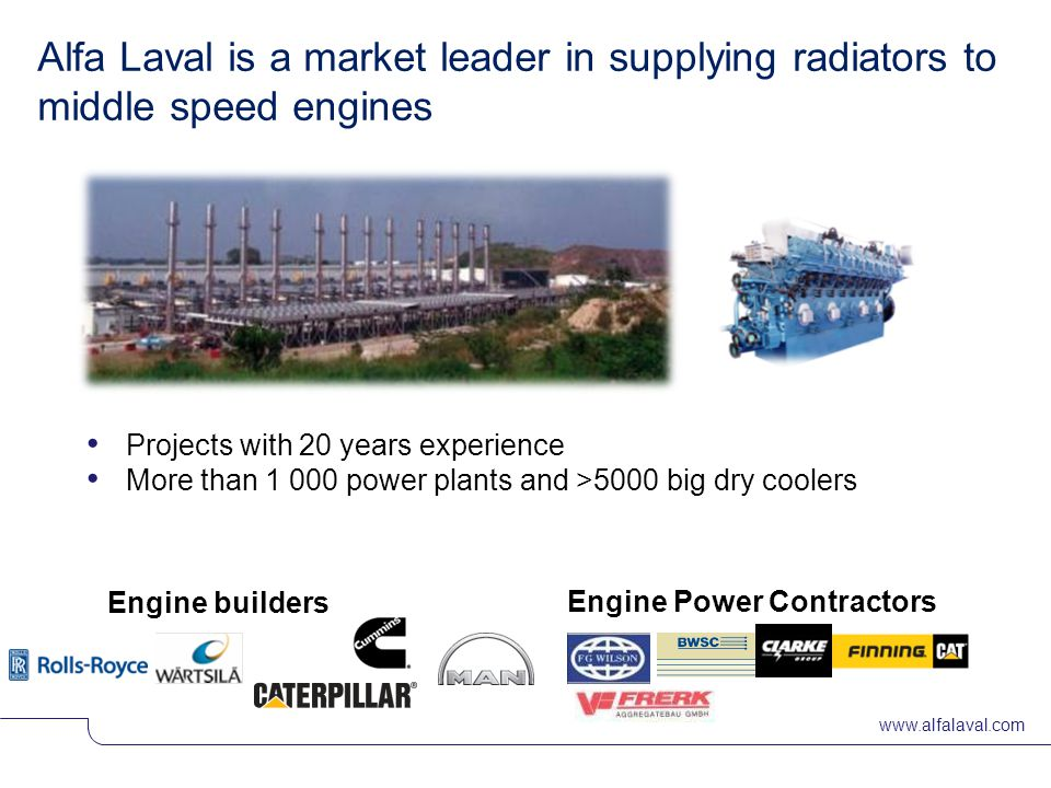 Alfa Laval is a market leader in supplying radiators to middle speed engines