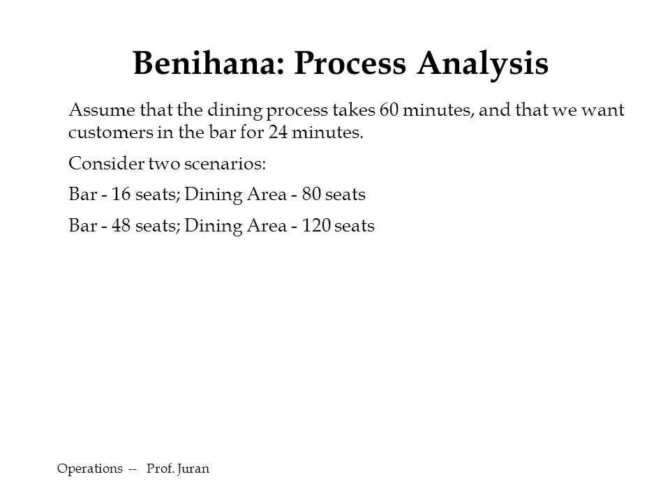 Benihana: Process Analysis