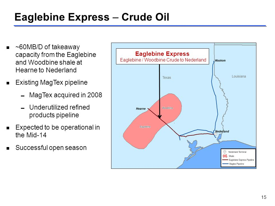Eaglebine / Woodbine Crude to Nederland