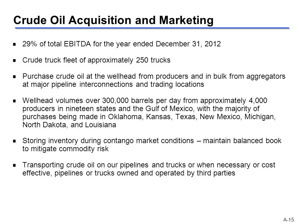 Crude Oil Acquisition and Marketing
