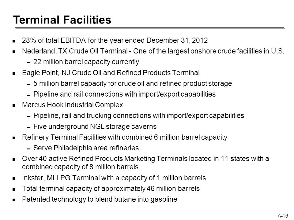 Terminal Facilities 28% of total EBITDA for the year ended December 31, 2012.