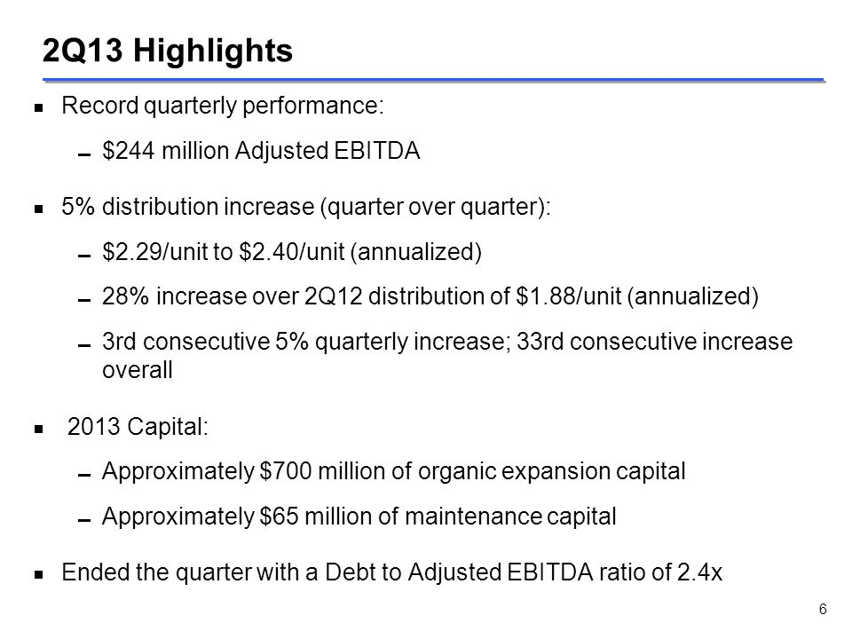 2Q13 Highlights Record quarterly performance: