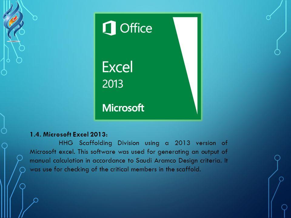 1.4. Microsoft Excel 2013: