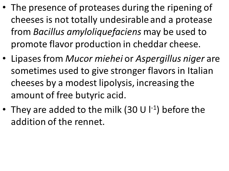 The presence of proteases during the ripening of cheeses is not totally undesirable and a protease from Bacillus amyloliquefaciens may be used to promote flavor production in cheddar cheese.