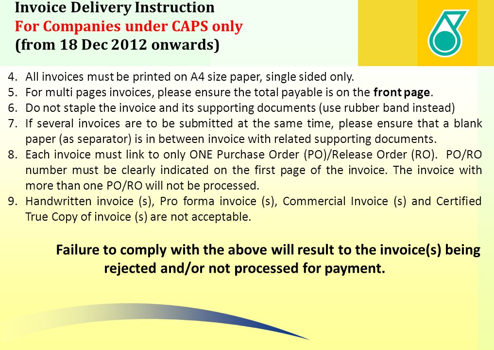 Invoice Delivery Instruction For Companies under CAPS only (from 18 Dec 2012 onwards)