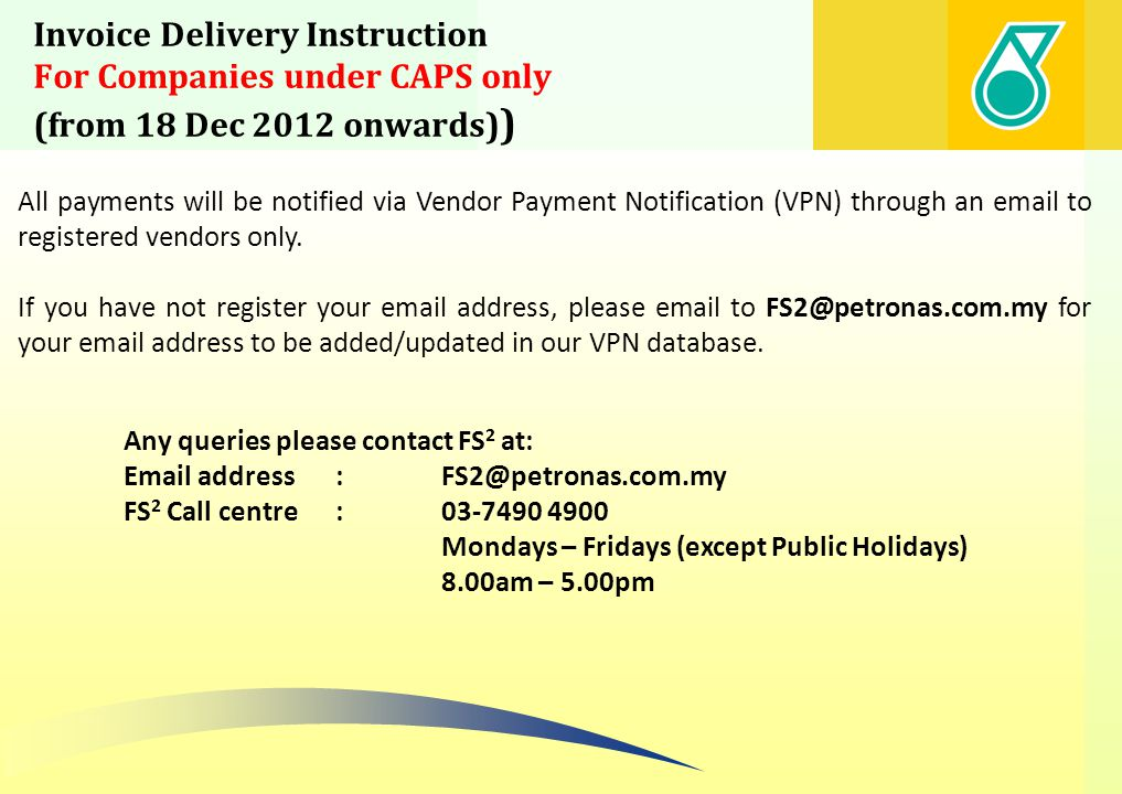 Invoice Delivery Instruction For Companies under CAPS only (from 18 Dec 2012 onwards))