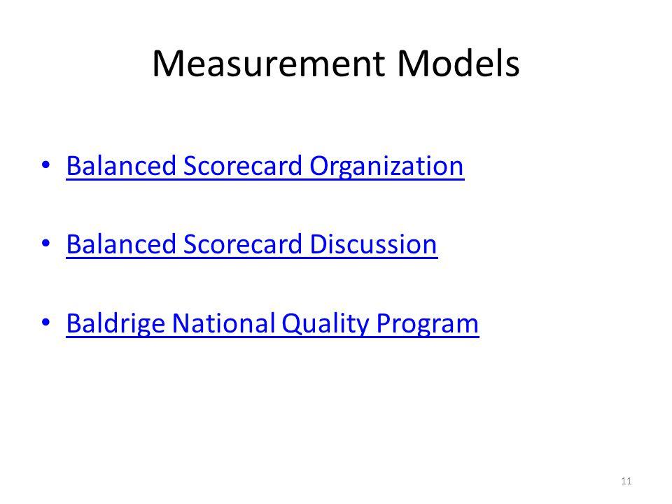 Measurement Models Balanced Scorecard Organization