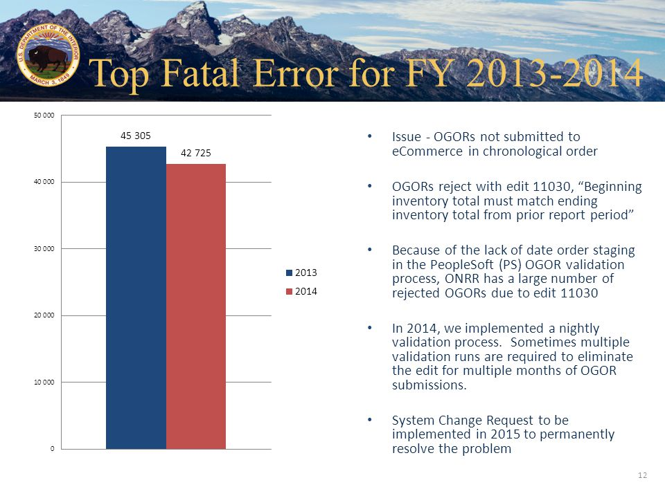 Top Fatal Error for FY 2013-2014 Issue - OGORs not submitted to eCommerce in chronological order.
