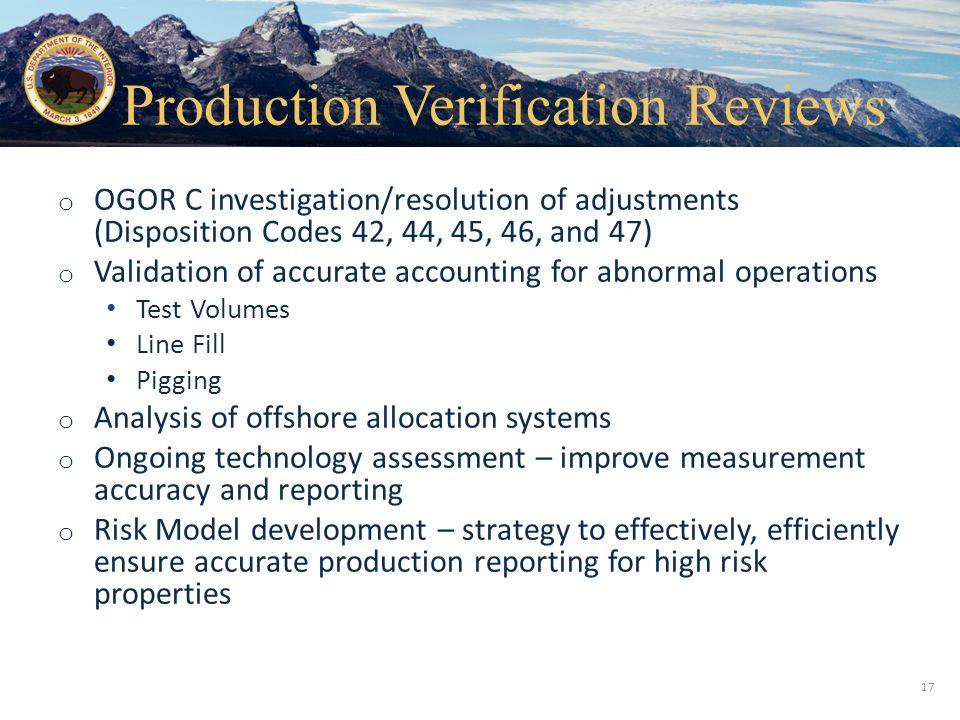 Production Verification Reviews