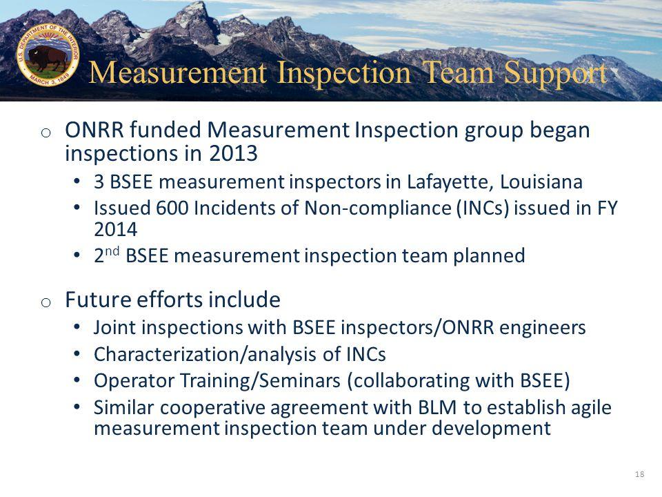 Measurement Inspection Team Support