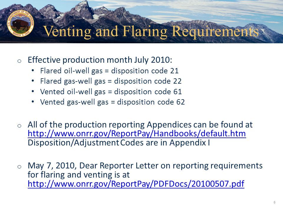 Venting and Flaring Requirements