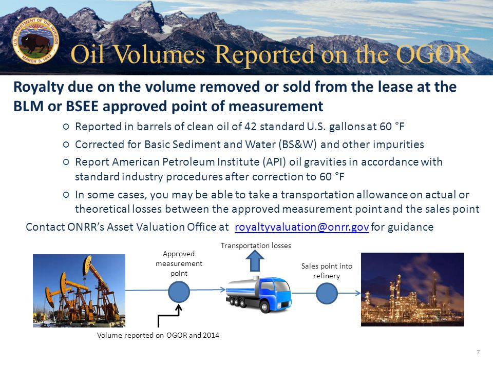 Oil Volumes Reported on the OGOR