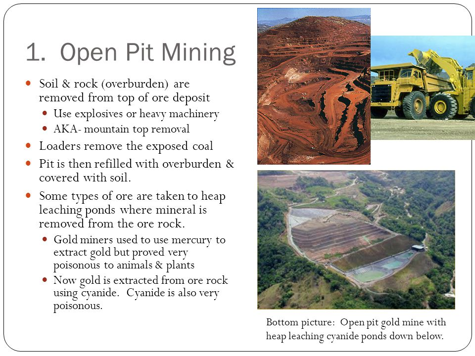 1. Open Pit Mining Soil & rock (overburden) are removed from top of ore deposit. Use explosives or heavy machinery.