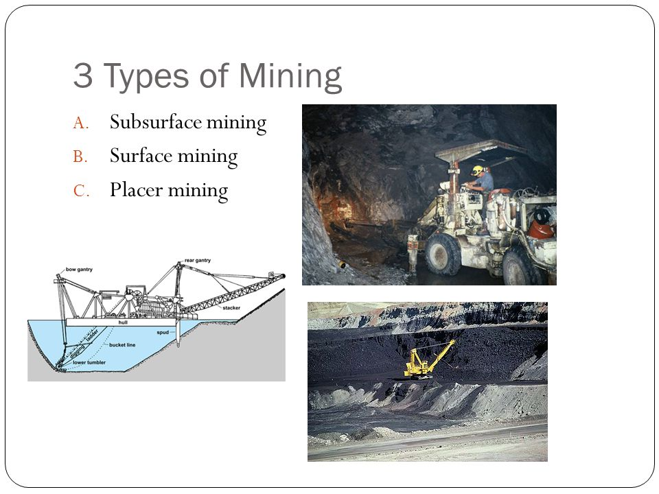 3 Types of Mining Subsurface mining Surface mining Placer mining