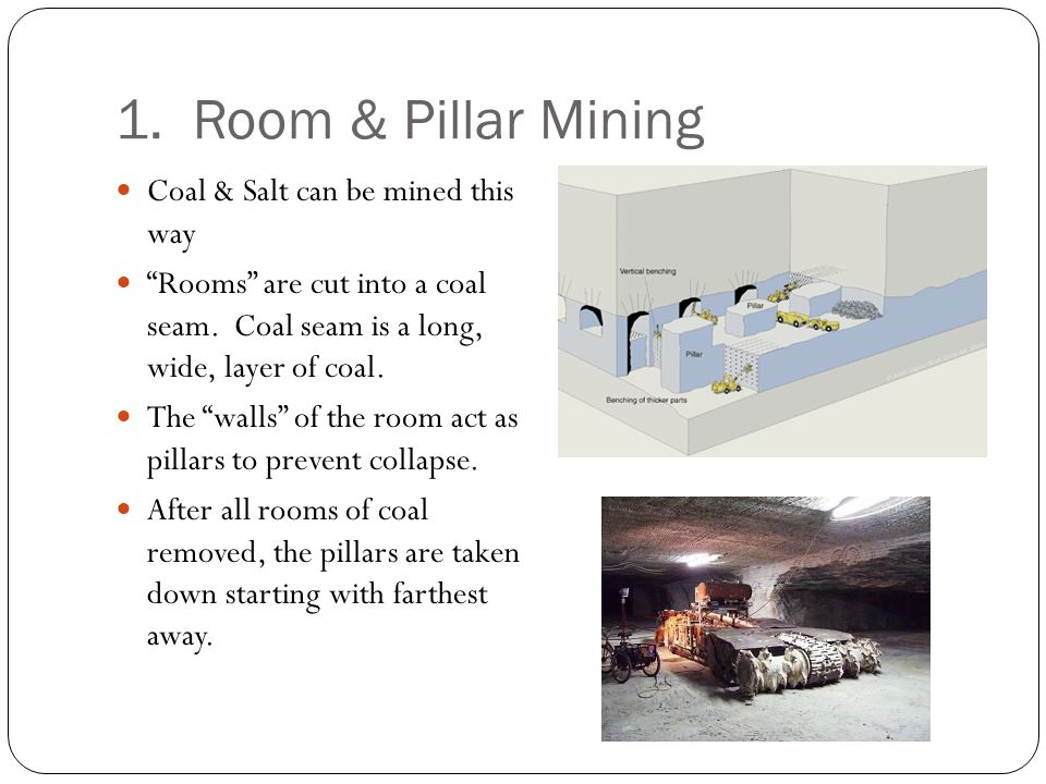 1. Room & Pillar Mining Coal & Salt can be mined this way