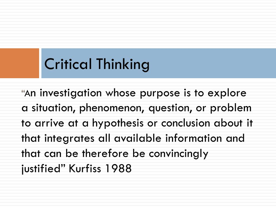 kurfiss critical thinking