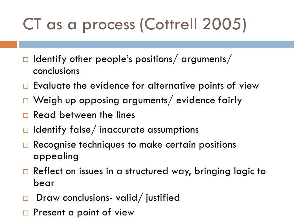 CT as a process (Cottrell 2005)