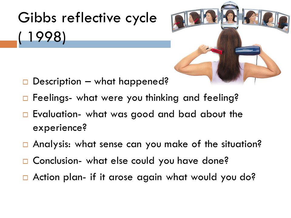 essay gibbs reflective cycle 1998 In this essay, i will reflect upon a experience which i had with a patient using the gibbs cycle of reflection (gibbs, 1998) to help to signpost my.