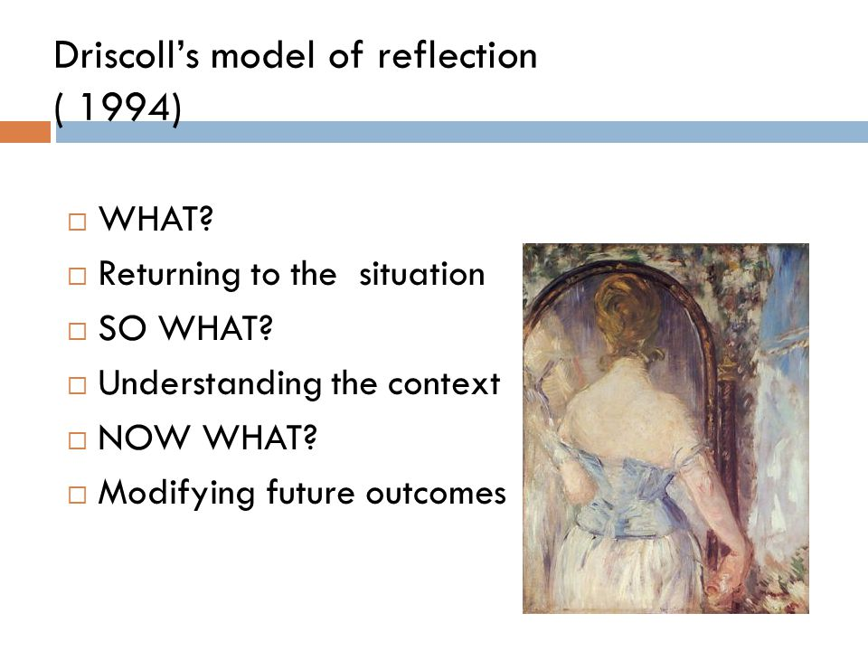 driscoll model of reflection essay Unlike most editing & proofreading services, we edit for everything: grammar, spelling, punctuation, idea flow, sentence structure, & more get started now.