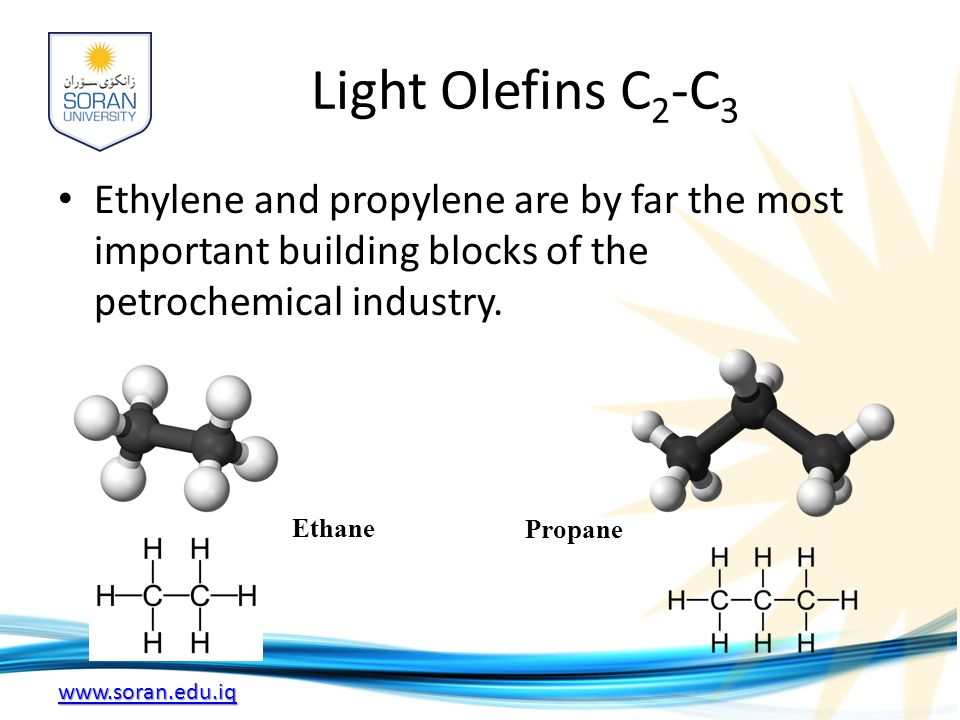 Light Olefins C2-C3 Ethylene and propylene are by far the most important building blocks of the petrochemical industry.