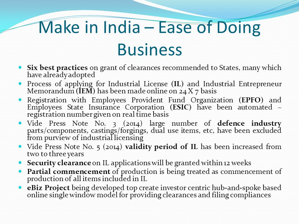 Make in India – Ease of Doing Business