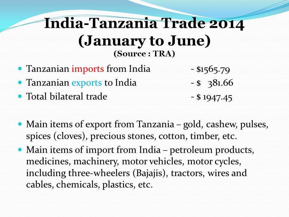 India-Tanzania Trade 2014 (January to June) (Source : TRA)
