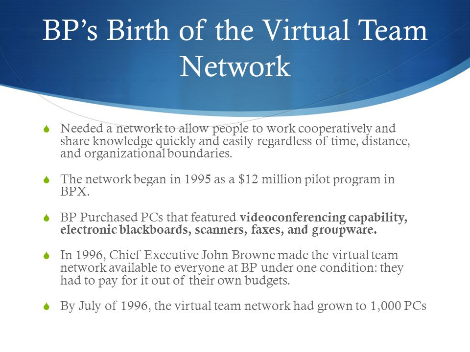 BP's Birth of the Virtual Team Network