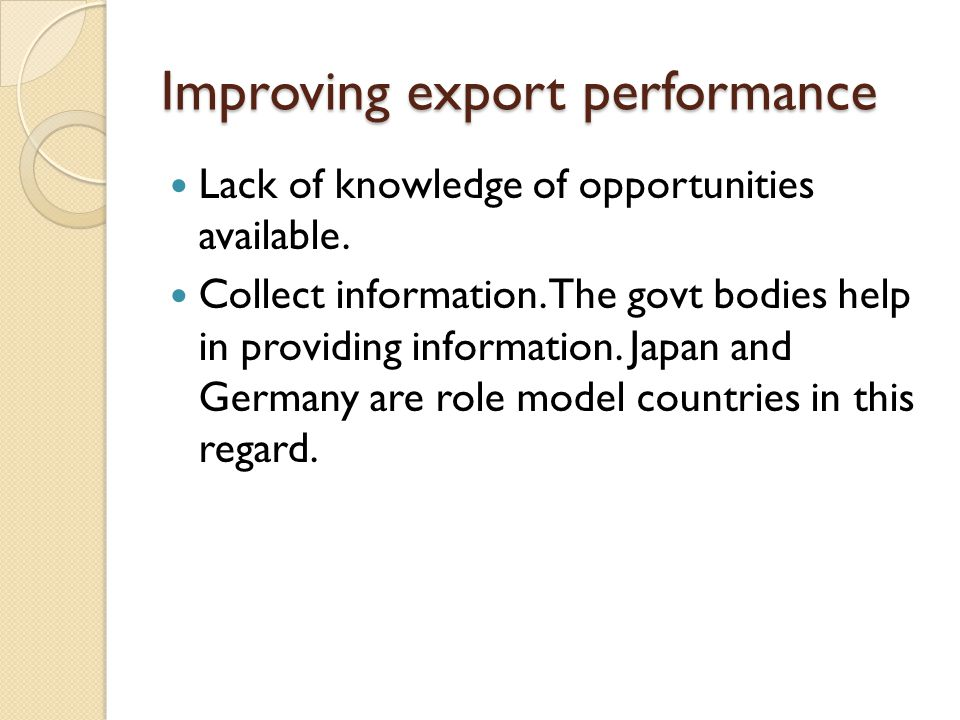 Improving export performance