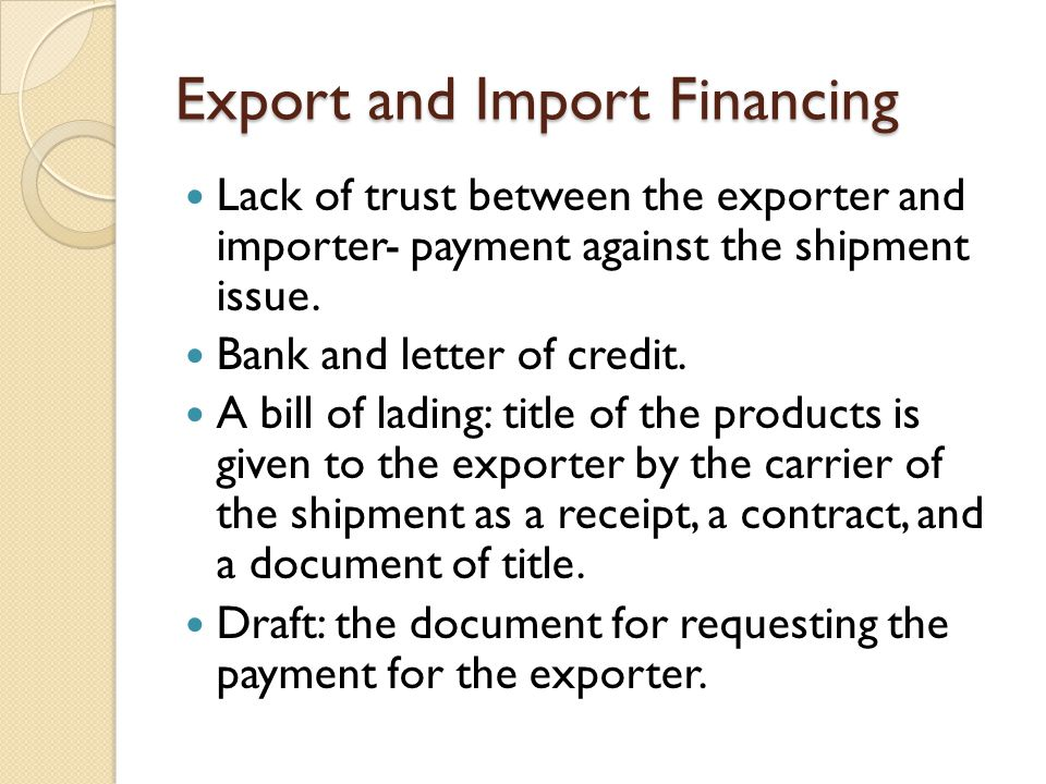 Export and Import Financing