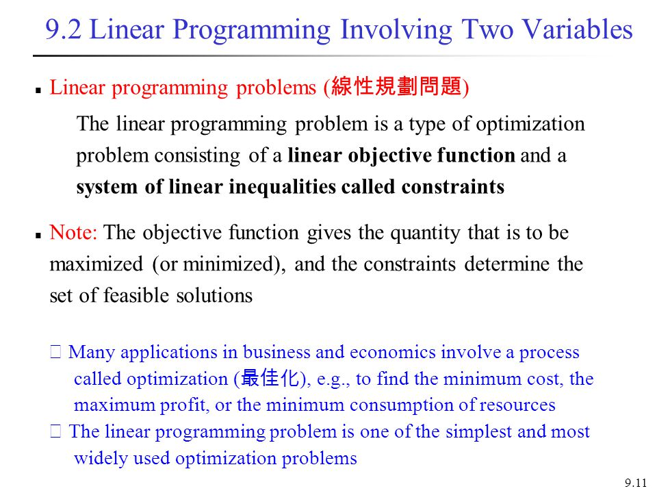 9.2 Linear Programming Involving Two Variables