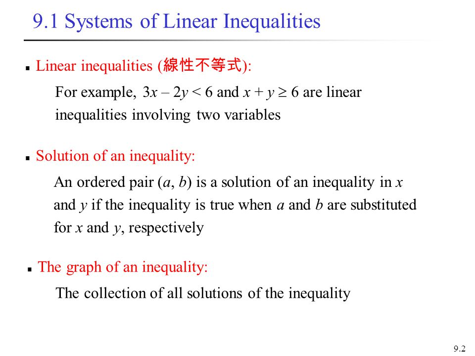 9.1 Systems of Linear Inequalities