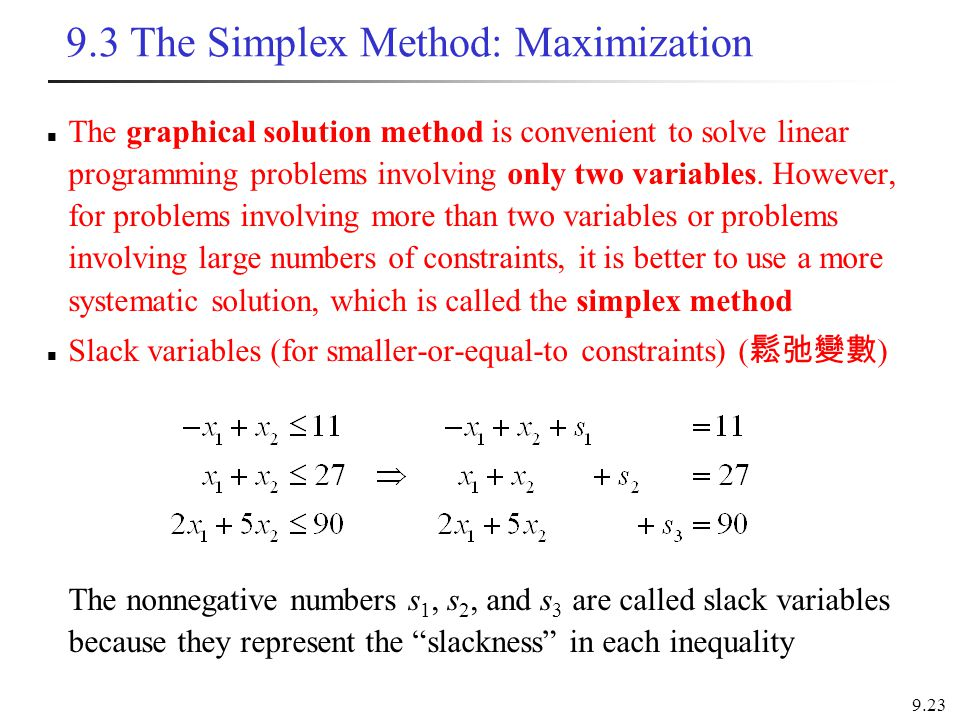 9.3 The Simplex Method: Maximization