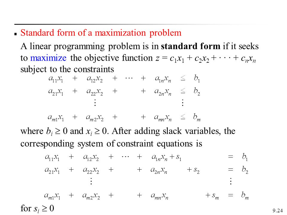 Standard form of a maximization problem