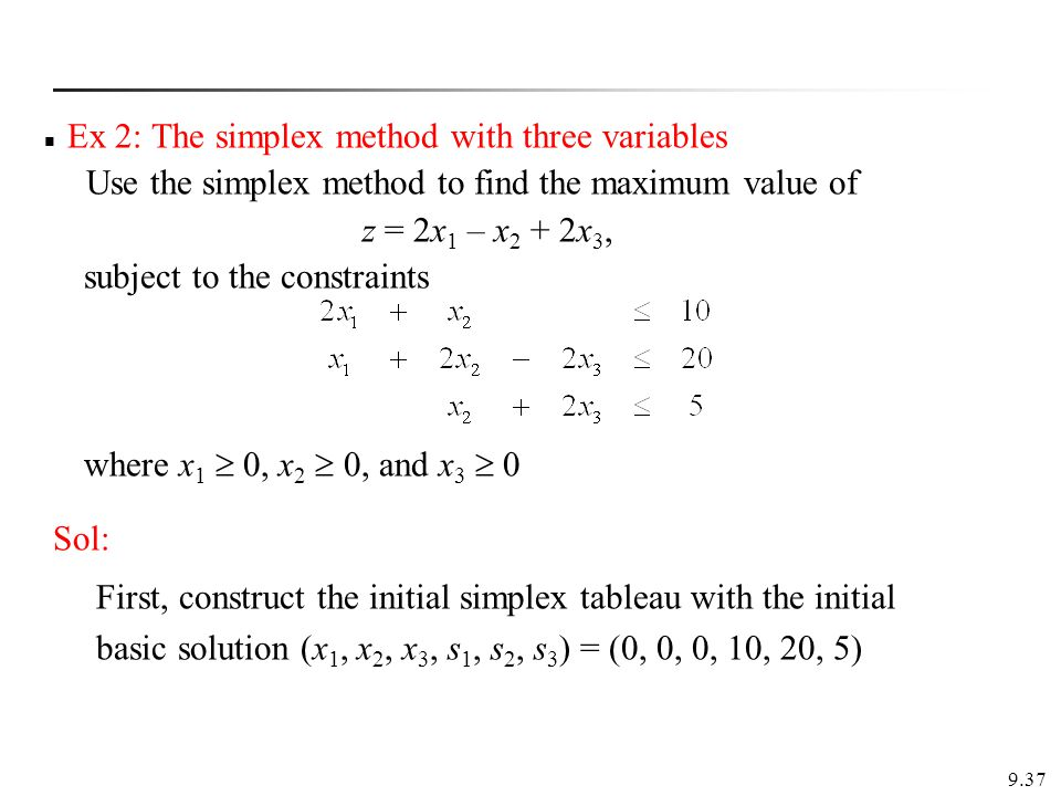 Ex 2: The simplex method with three variables