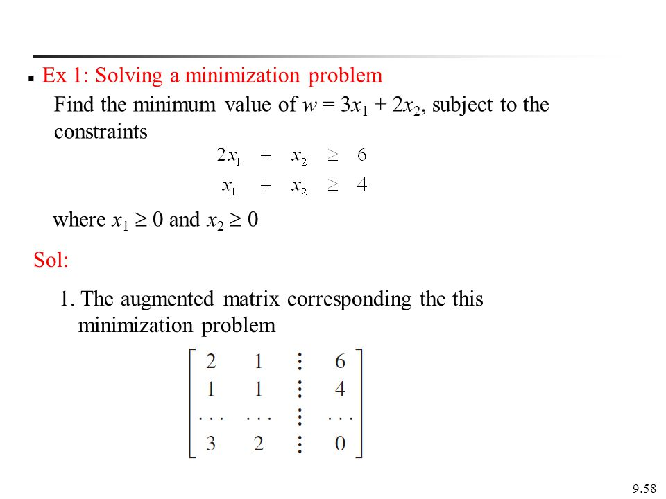 Ex 1: Solving a minimization problem