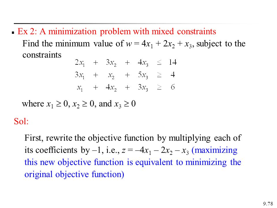 Ex 2: A minimization problem with mixed constraints