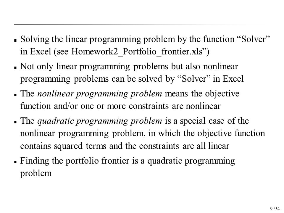 Finding the portfolio frontier is a quadratic programming problem
